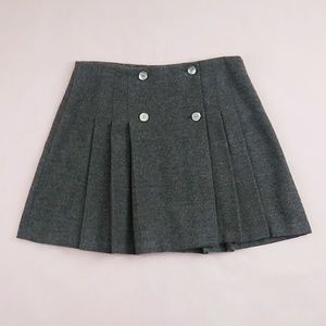 NWT Vintage Wool Pleated Charcoal Skirt M